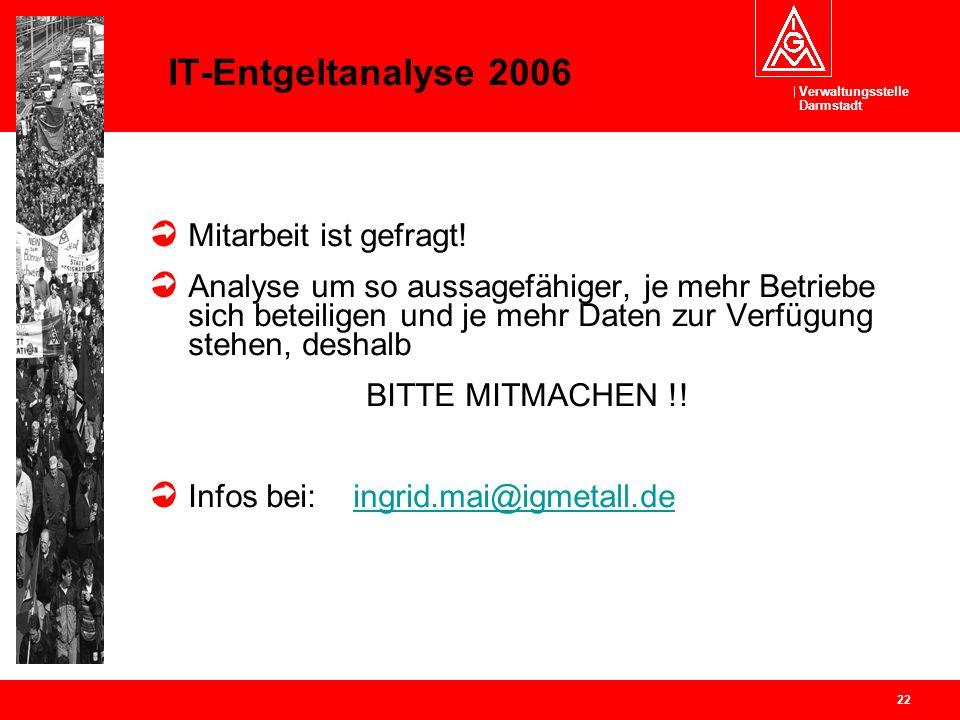 Verwaltungsstelle Darmstadt 22 IT-Entgeltanalyse 2006 Mitarbeit ist gefragt! Analyse um so aussagefähiger, je mehr Betriebe sich beteiligen und je meh