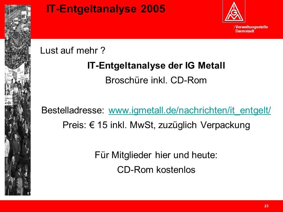 Verwaltungsstelle Darmstadt 23 IT-Entgeltanalyse 2005 Lust auf mehr ? IT-Entgeltanalyse der IG Metall Broschüre inkl. CD-Rom Bestelladresse: www.igmet