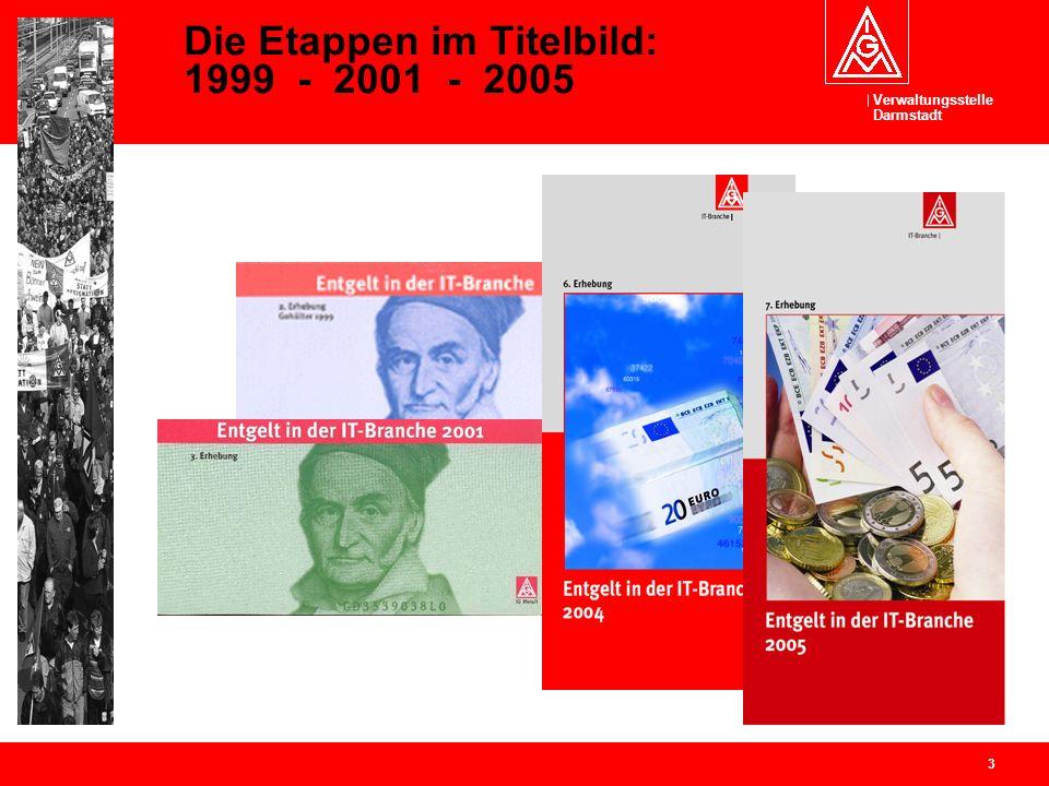 Verwaltungsstelle Darmstadt 3 Die Etappen im Titelbild: 1999 - 2001 - 2005
