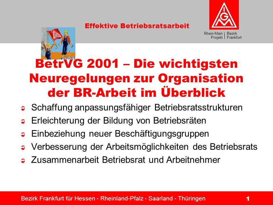 Bezirk Frankfurt Rhein-Main Projekt Effektive Betriebsratsarbeit Bezirk Frankfurt für Hessen - Rheinland-Pfalz - Saarland - Thüringen 1 BetrVG 2001 –