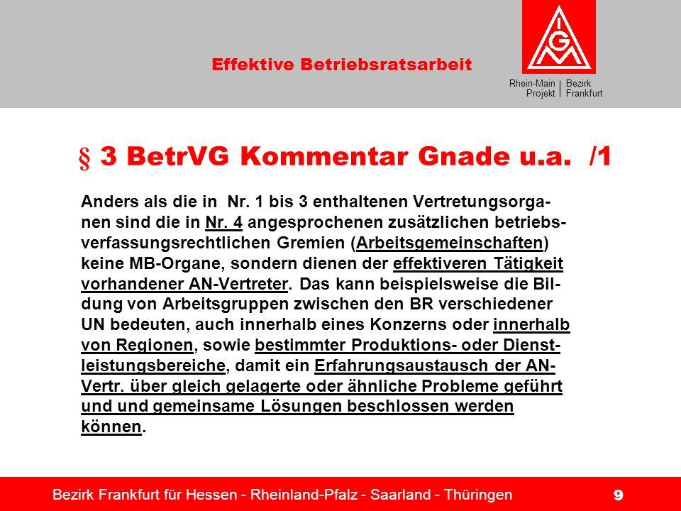 Bezirk Frankfurt Rhein-Main Projekt Effektive Betriebsratsarbeit Bezirk Frankfurt für Hessen - Rheinland-Pfalz - Saarland - Thüringen 9 § 3 BetrVG Kom