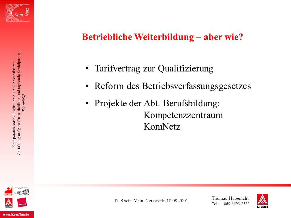 IT-Rhein-Main Netzwerk, 18.09.2001 Kompetenzentwicklung in vernetzten Lernstrukturen - Gestaltungsaufgabe für betriebliche und regionale Sozialpartner (KomNetz) www.KomNetz.de Tarifvertrag zur Qualifizierung der IG Metall und Südwestmetall Die Tarifvertragsparteien stimmen überein, dass die Frage der Qualifizierung und das lebenslange Lernen ein Schlüssel für die Sicherung der Wettbewerbsfähigkeit der Betriebe, der Sicherung der Arbeitsplätze und der Beschäftigungsfähigkeit der Arbeitnehmerinnen und Arbeitnehmer ist.