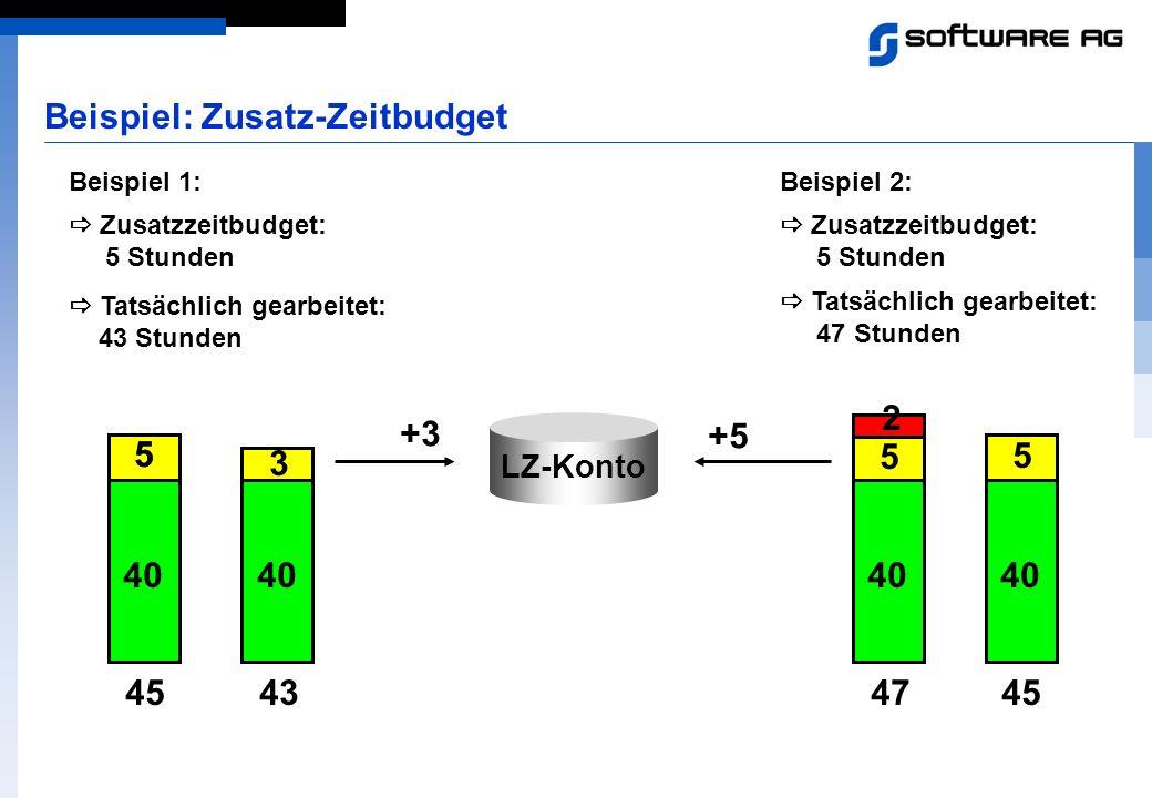 Beispiel 1: Zusatzzeitbudget: 5 Stunden LZ-Konto Beispiel 2: Zusatzzeitbudget: 5 Stunden 45 40 5 45 55 Beispiel: Zusatz-Zeitbudget 43 40 3 +3 Tatsächl