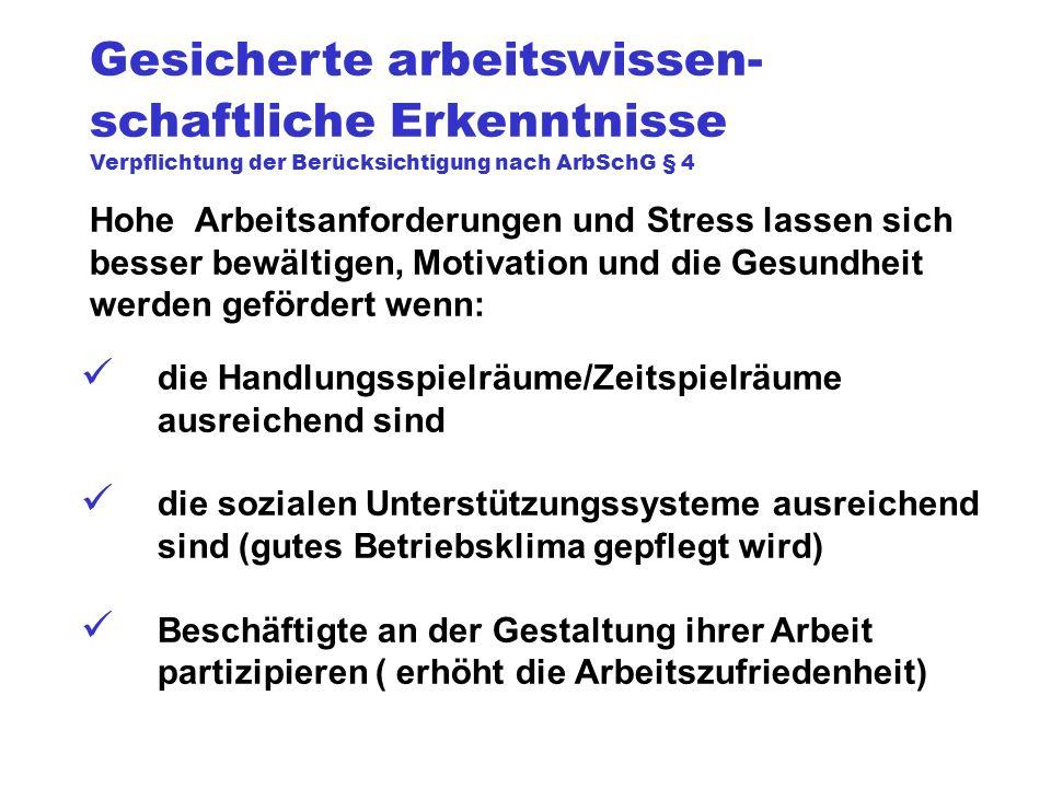 Gesicherte arbeitswissen- schaftliche Erkenntnisse Verpflichtung der Berücksichtigung nach ArbSchG § 4 Hohe Arbeitsanforderungen und Stress lassen sic