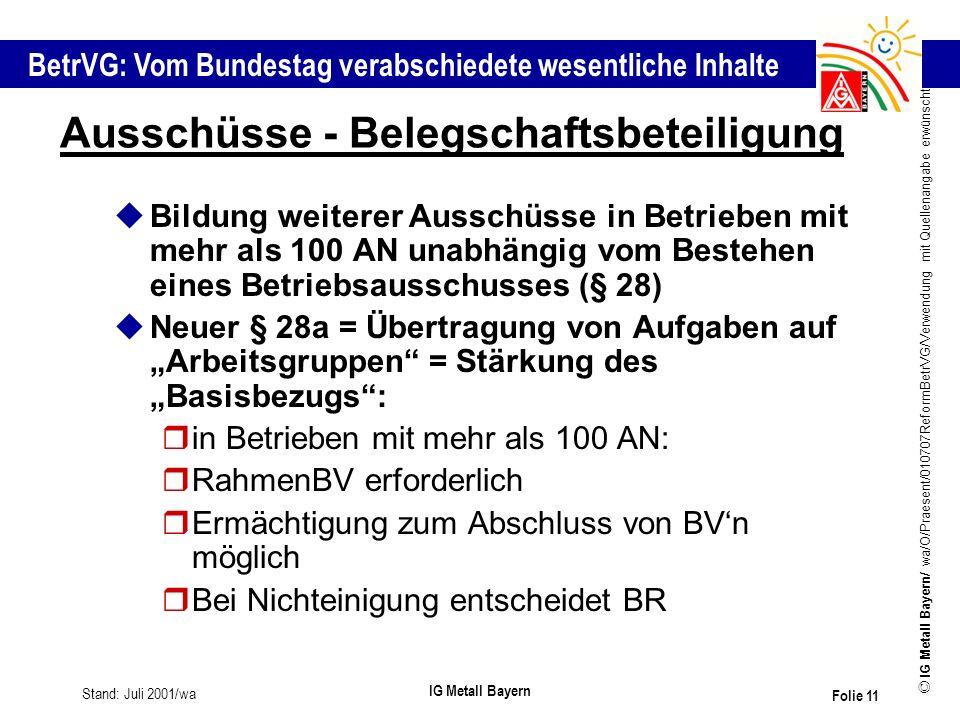 BetrVG: Vom Bundestag verabschiedete wesentliche Inhalte © IG Metall Bayern/ wa/O/Praesent/010707ReformBetrVG/Verwendung mit Quellenangabe erwünscht S