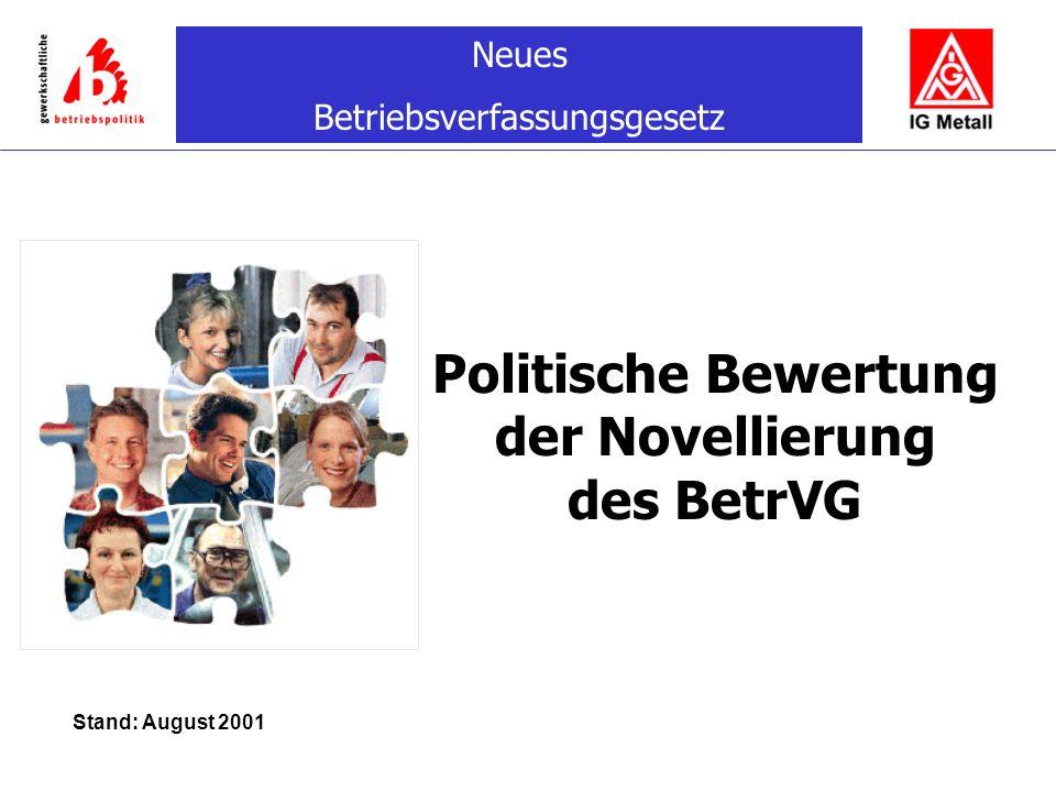 Neues Betriebsverfassungsgesetz Politische Bewertung der Novellierung des BetrVG Stand: August 2001