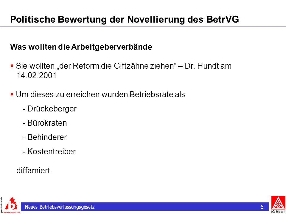 Neues Betriebsverfassungsgesetz 5 Politische Bewertung der Novellierung des BetrVG Was wollten die Arbeitgeberverbände Sie wollten der Reform die Gift