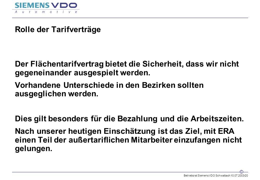 Betriebsrat Siemens VDO Schwalbach 10.07.2003/20 © Rolle der Tarifverträge Der Flächentarifvertrag bietet die Sicherheit, dass wir nicht gegeneinander ausgespielt werden.