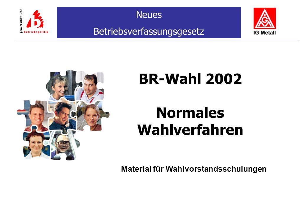 BR-Wahl 2002 Normales Wahlverfahren Neues Betriebsverfassungsgesetz Material für Wahlvorstandsschulungen