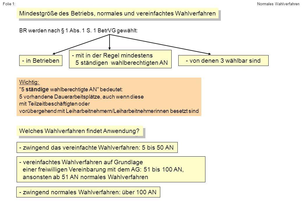 Mindestgröße des Betriebs, normales und vereinfachtes Wahlverfahren - in Betrieben - mit in der Regel mindestens 5 ständigen wahlberechtigten AN - von