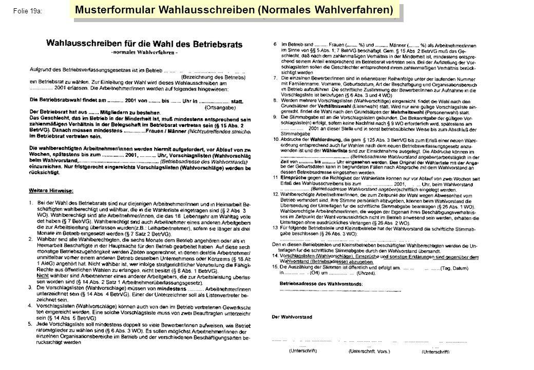Folie 19a: Musterformular Wahlausschreiben (Normales Wahlverfahren)