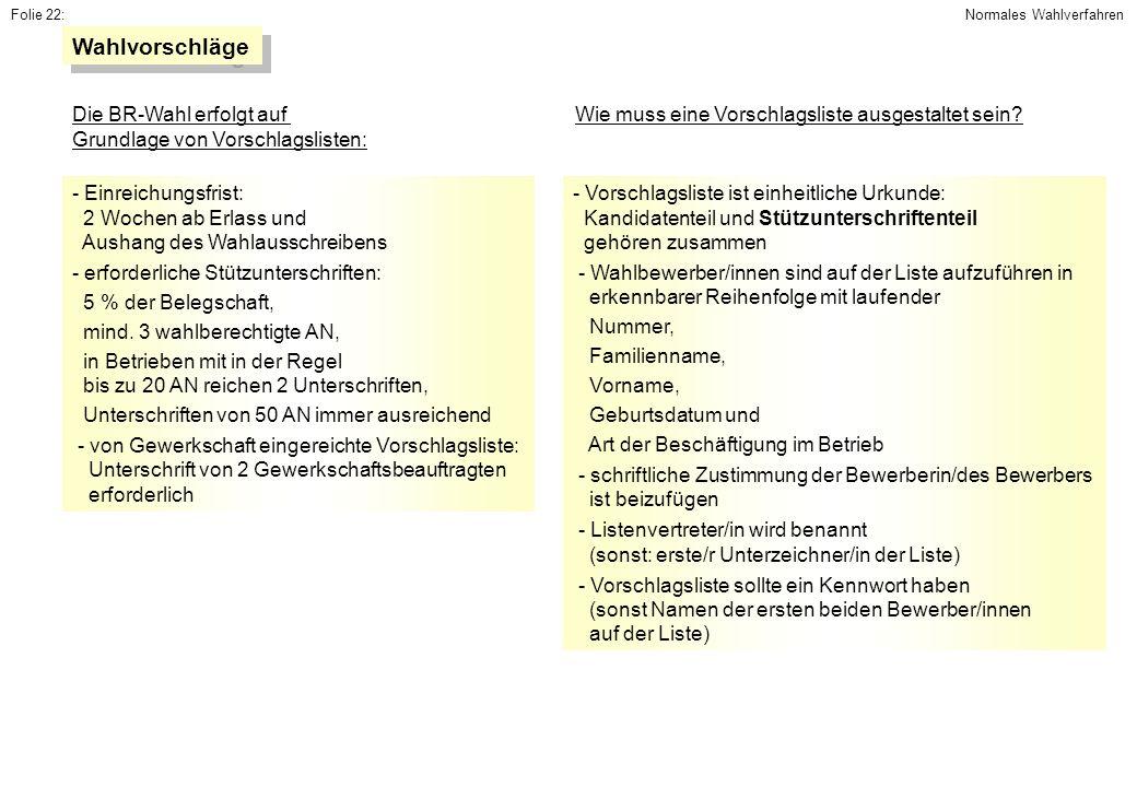 Folie 22: - Vorschlagsliste ist einheitliche Urkunde: Kandidatenteil und Stützunterschriftenteil gehören zusammen - Wahlbewerber/innen sind auf der Li