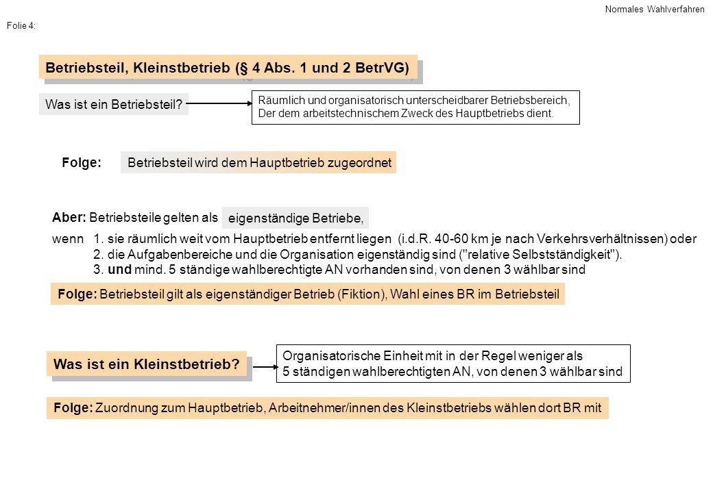 Betriebsteil, Kleinstbetrieb (§ 4 Abs. 1 und 2 BetrVG) Räumlich und organisatorisch unterscheidbarer Betriebsbereich, Der dem arbeitstechnischem Zweck