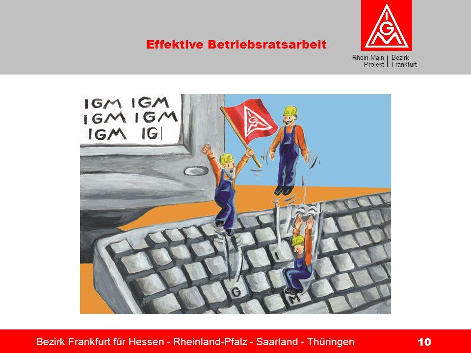Bezirk Frankfurt Rhein-Main Projekt Effektive Betriebsratsarbeit Bezirk Frankfurt für Hessen - Rheinland-Pfalz - Saarland - Thüringen 10 Metaller auf