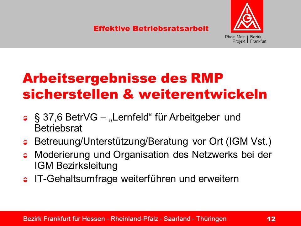 Bezirk Frankfurt Rhein-Main Projekt Effektive Betriebsratsarbeit Bezirk Frankfurt für Hessen - Rheinland-Pfalz - Saarland - Thüringen 12 Arbeitsergebn
