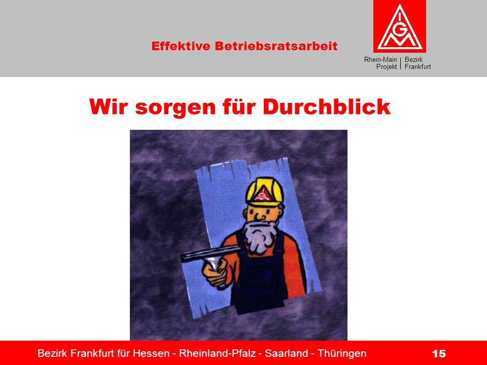 Bezirk Frankfurt Rhein-Main Projekt Effektive Betriebsratsarbeit Bezirk Frankfurt für Hessen - Rheinland-Pfalz - Saarland - Thüringen 15 Wir sorgen fü