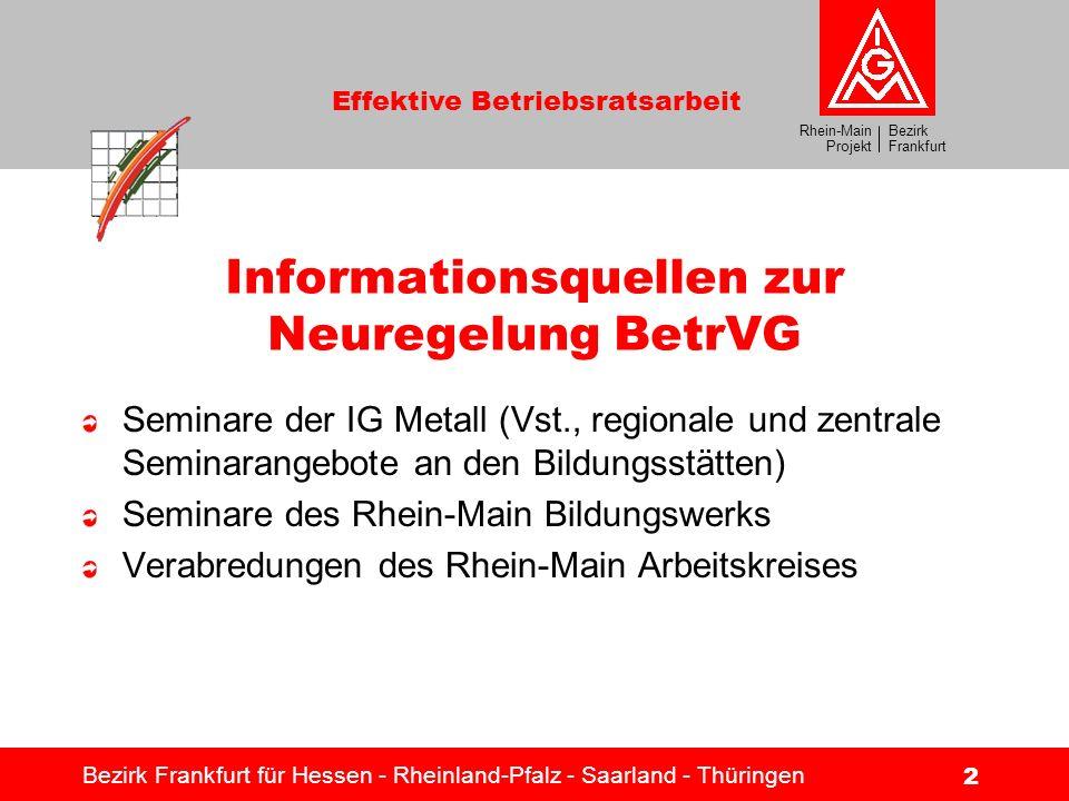 Bezirk Frankfurt Rhein-Main Projekt Effektive Betriebsratsarbeit Bezirk Frankfurt für Hessen - Rheinland-Pfalz - Saarland - Thüringen 2 Informationsqu