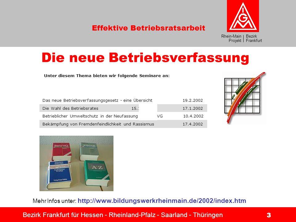 Bezirk Frankfurt Rhein-Main Projekt Effektive Betriebsratsarbeit Bezirk Frankfurt für Hessen - Rheinland-Pfalz - Saarland - Thüringen 3 Unter diesem T
