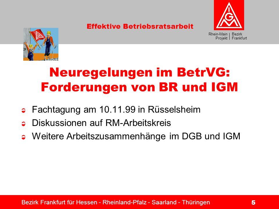 Bezirk Frankfurt Rhein-Main Projekt Effektive Betriebsratsarbeit Bezirk Frankfurt für Hessen - Rheinland-Pfalz - Saarland - Thüringen 5 Neuregelungen