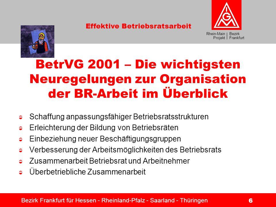 Bezirk Frankfurt Rhein-Main Projekt Effektive Betriebsratsarbeit Bezirk Frankfurt für Hessen - Rheinland-Pfalz - Saarland - Thüringen 7 Die drei Säulen der Arbeit des Rhein-Main Projekts