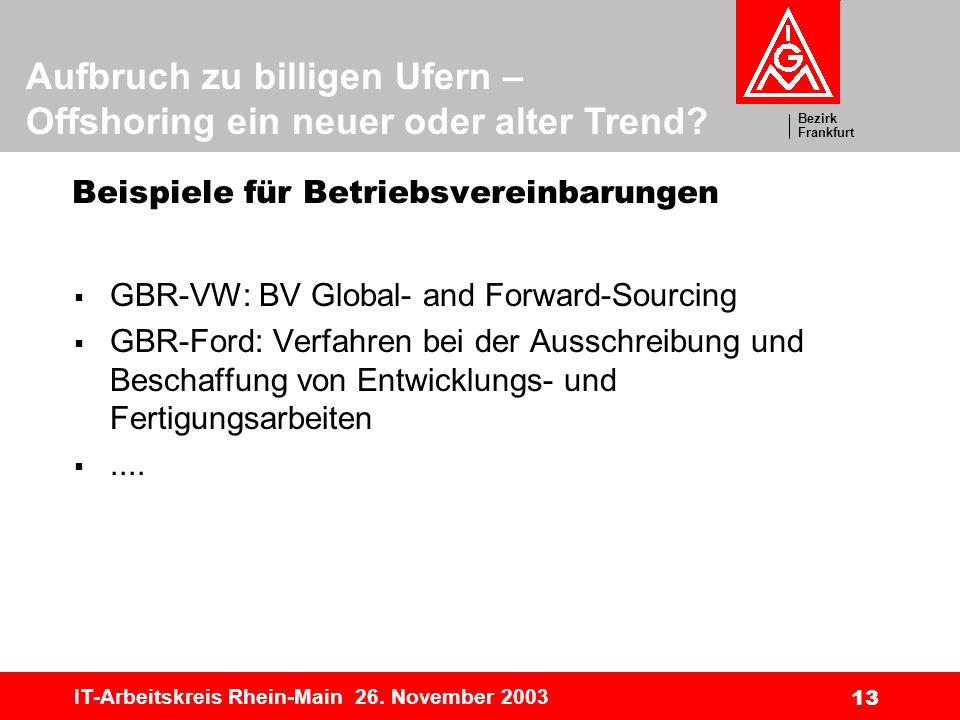 Bezirk Frankfurt Aufbruch zu billigen Ufern – Offshoring ein neuer oder alter Trend? IT-Arbeitskreis Rhein-Main 26. November 2003 13 Beispiele für Bet