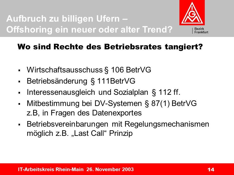 Bezirk Frankfurt Aufbruch zu billigen Ufern – Offshoring ein neuer oder alter Trend? IT-Arbeitskreis Rhein-Main 26. November 2003 14 Wo sind Rechte de