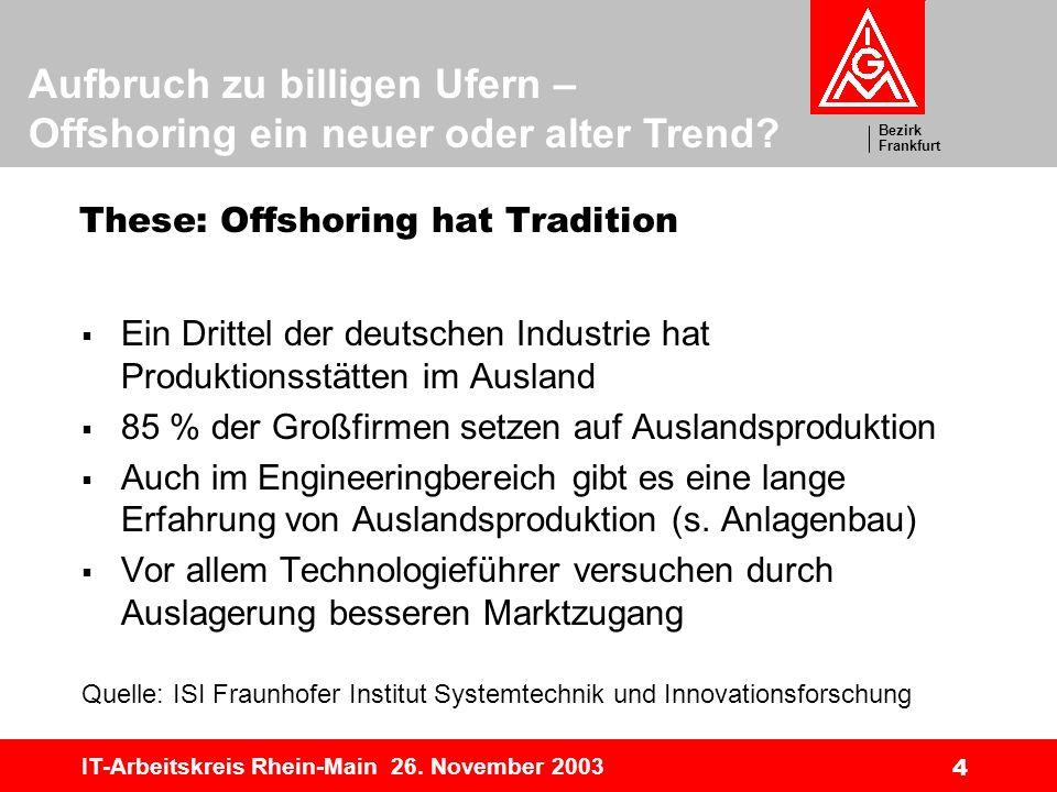 Bezirk Frankfurt Aufbruch zu billigen Ufern – Offshoring ein neuer oder alter Trend? IT-Arbeitskreis Rhein-Main 26. November 2003 4 These: Offshoring