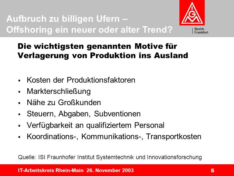 Bezirk Frankfurt Aufbruch zu billigen Ufern – Offshoring ein neuer oder alter Trend? IT-Arbeitskreis Rhein-Main 26. November 2003 5 Die wichtigsten ge