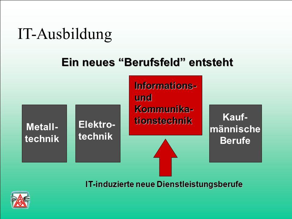 IT-Ausbildung Metall- technik Elektro- technik Kauf- männische Berufe Ein neues Berufsfeld entsteht Informations-undKommunika-tionstechnik IT-induzierte neue Dienstleistungsberufe