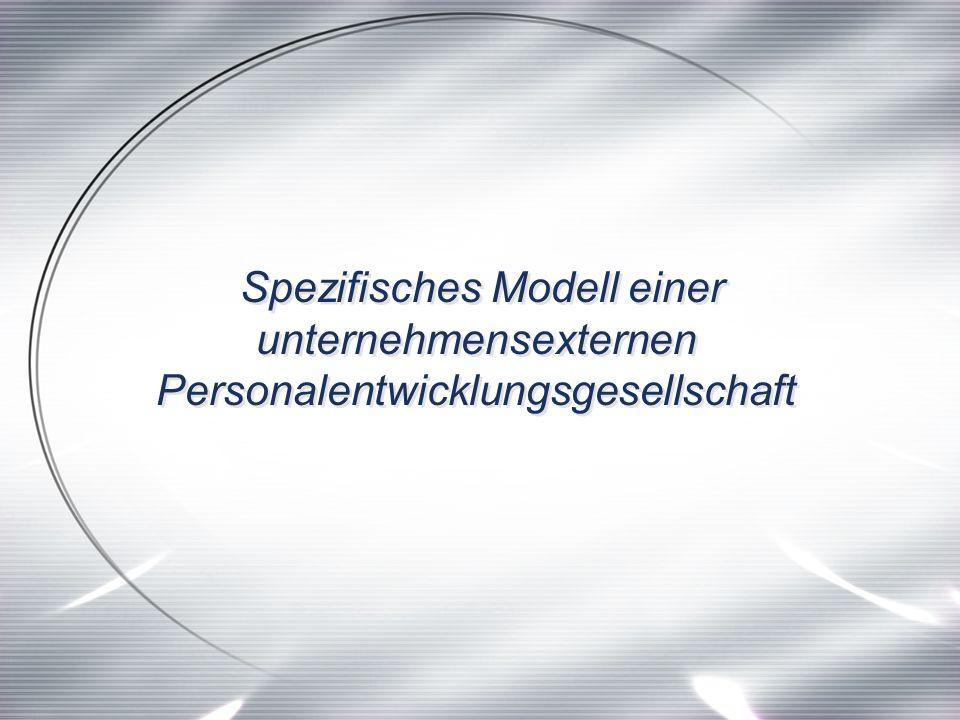 Spezifisches Modell einer unternehmensexternen Personalentwicklungsgesellschaft Spezifisches Modell einer unternehmensexternen Personalentwicklungsgesellschaft