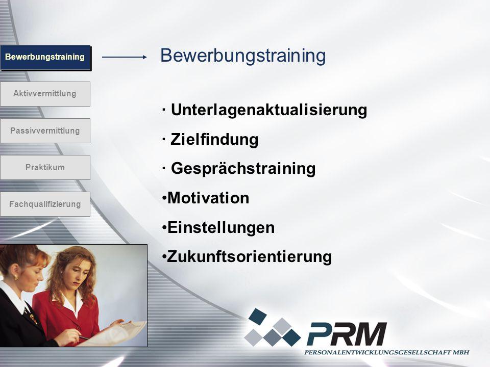 Bewerbungstraining Aktivvermittlung Passivvermittlung Praktikum Fachqualifizierung · Unterlagenaktualisierung · Zielfindung · Gesprächstraining Motiva