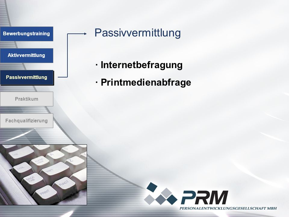 Passivvermittlung Bewerbungstraining Aktivvermittlung Passivvermittlung Praktikum Fachqualifizierung · Internetbefragung · Printmedienabfrage