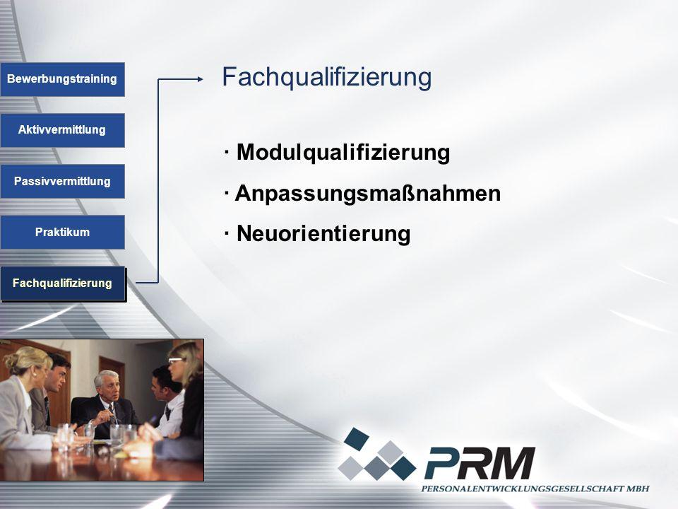 Fachqualifizierung Bewerbungstraining Aktivvermittlung Passivvermittlung Praktikum Fachqualifizierung · Modulqualifizierung · Anpassungsmaßnahmen · Neuorientierung