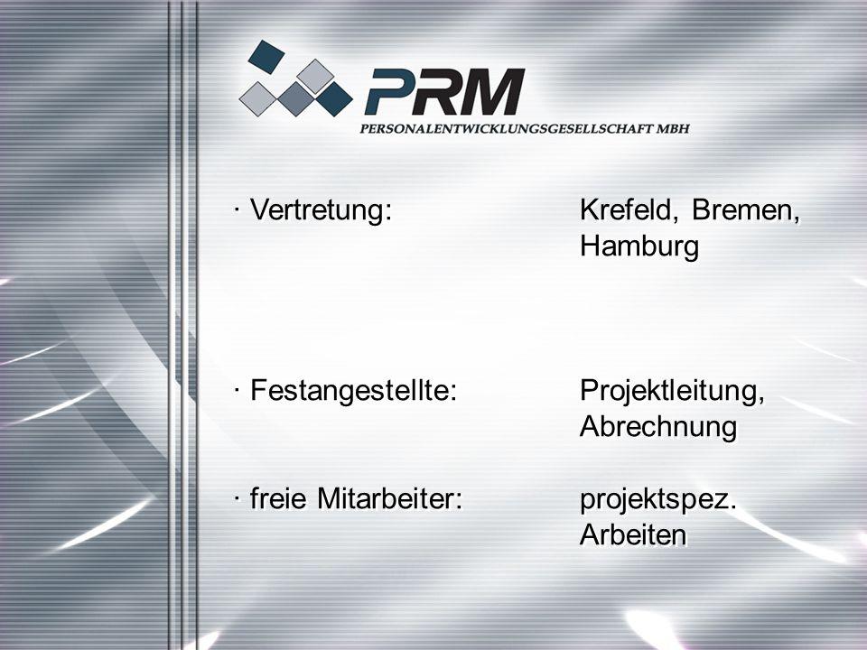 · Vertretung:Krefeld, Bremen, Hamburg · Festangestellte:Projektleitung, Abrechnung · freie Mitarbeiter:projektspez.