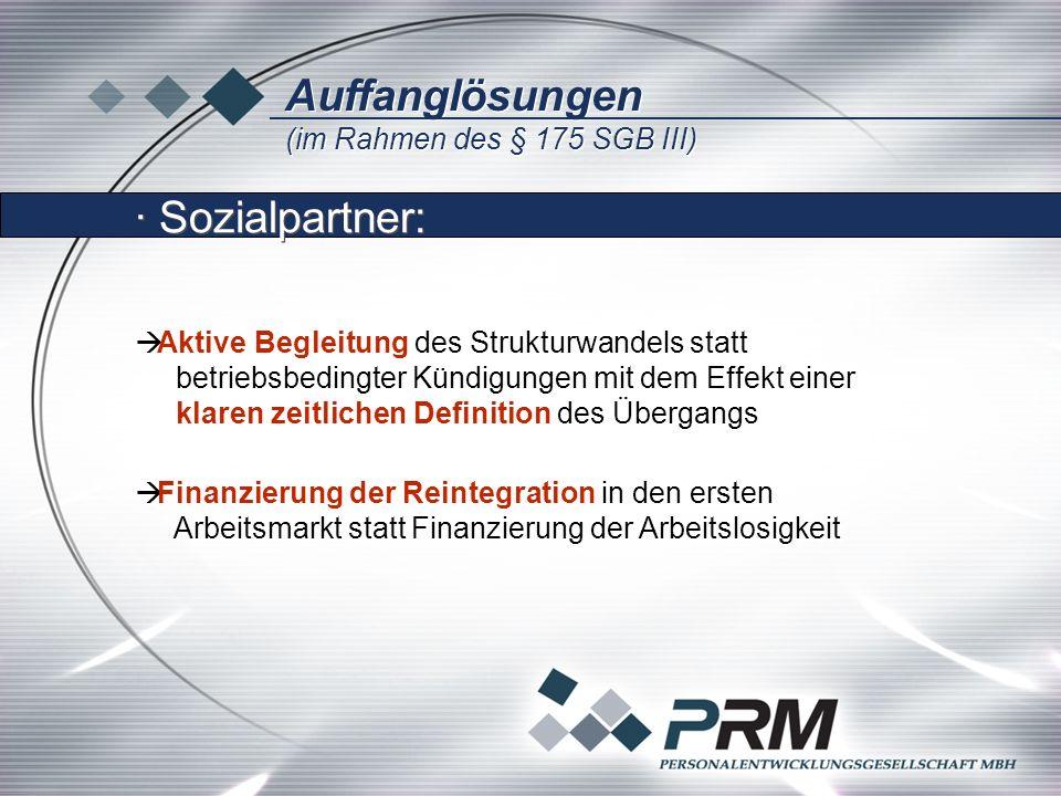 Auffanglösungen (im Rahmen des § 175 SGB III) Auffanglösungen (im Rahmen des § 175 SGB III) Aktive Begleitung des Strukturwandels statt betriebsbedingter Kündigungen mit dem Effekt einer klaren zeitlichen Definition des Übergangs Finanzierung der Reintegration in den ersten Arbeitsmarkt statt Finanzierung der Arbeitslosigkeit Finanzierung der Reintegration in den ersten Arbeitsmarkt statt Finanzierung der Arbeitslosigkeit · Sozialpartner: