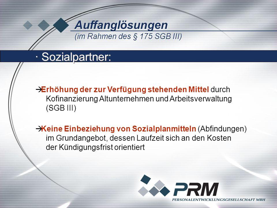Auffanglösungen (im Rahmen des § 175 SGB III) Auffanglösungen (im Rahmen des § 175 SGB III) Erhöhung der zur Verfügung stehenden Mittel durch Kofinanz