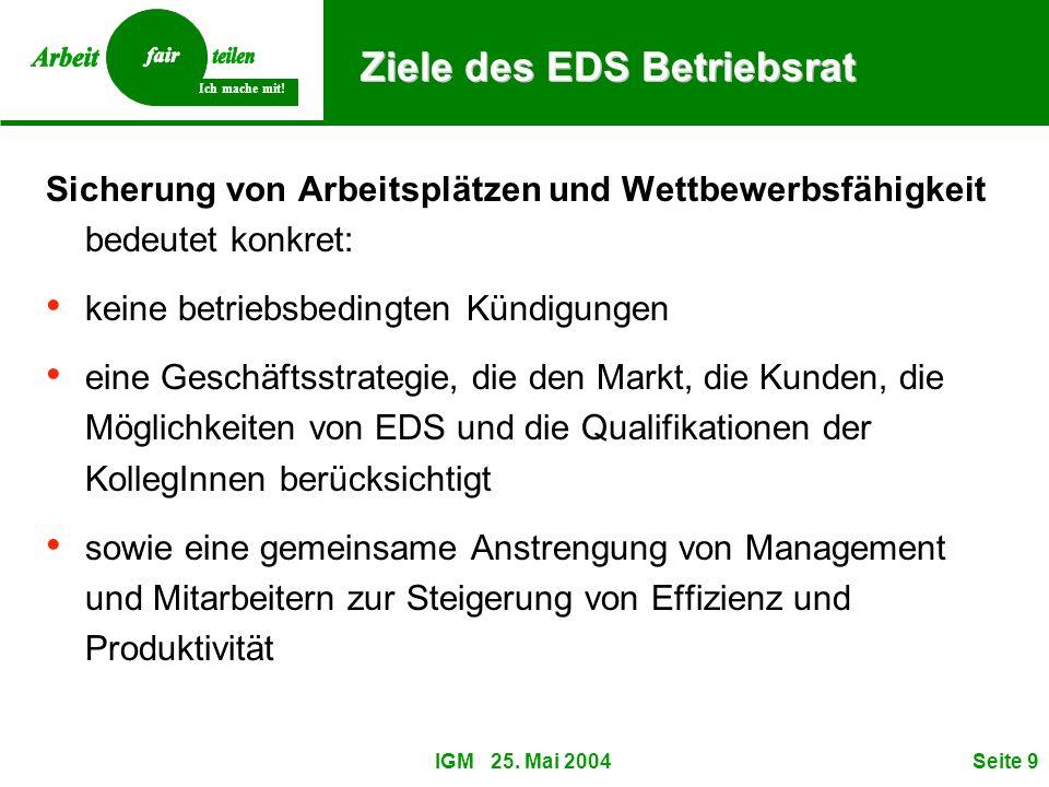 Ich mache mit! IGM 25. Mai 2004Seite 9 Ziele des EDS Betriebsrat Sicherung von Arbeitsplätzen und Wettbewerbsfähigkeit bedeutet konkret: keine betrieb