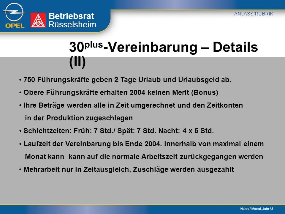 Name / Monat, Jahr / 3 Betriebsrat ANLASS/RUBRIK Rüsselsheim 30 plus -Vereinbarung – Details (II) 750 Führungskräfte geben 2 Tage Urlaub und Urlaubsgeld ab.
