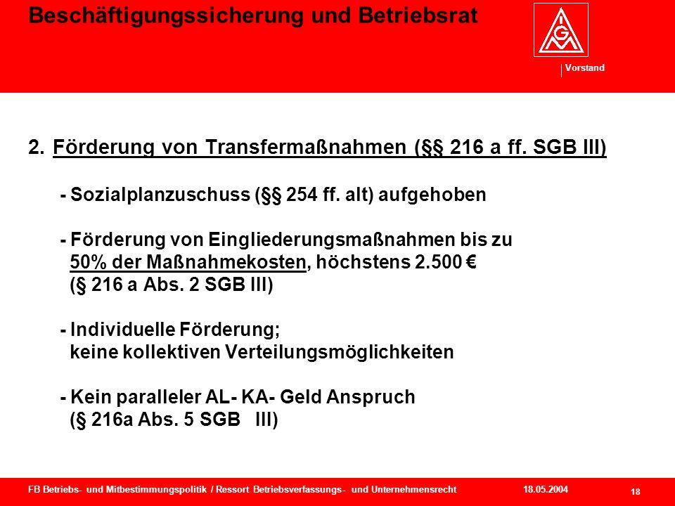 Vorstand 18.05.2004 19 FB Betriebs- und Mitbestimmungspolitik / Ressort Betriebsverfassungs- und Unternehmensrecht Beschäftigungssicherung und Betriebsrat - Voraussetzungen (§ 216a Abs.