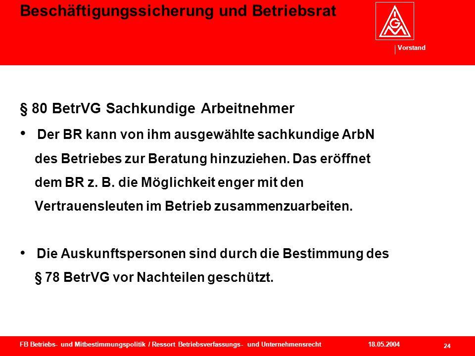 Vorstand 18.05.2004 25 FB Betriebs- und Mitbestimmungspolitik / Ressort Betriebsverfassungs- und Unternehmensrecht Beschäftigungssicherung und Betriebsrat § 80 Abs.
