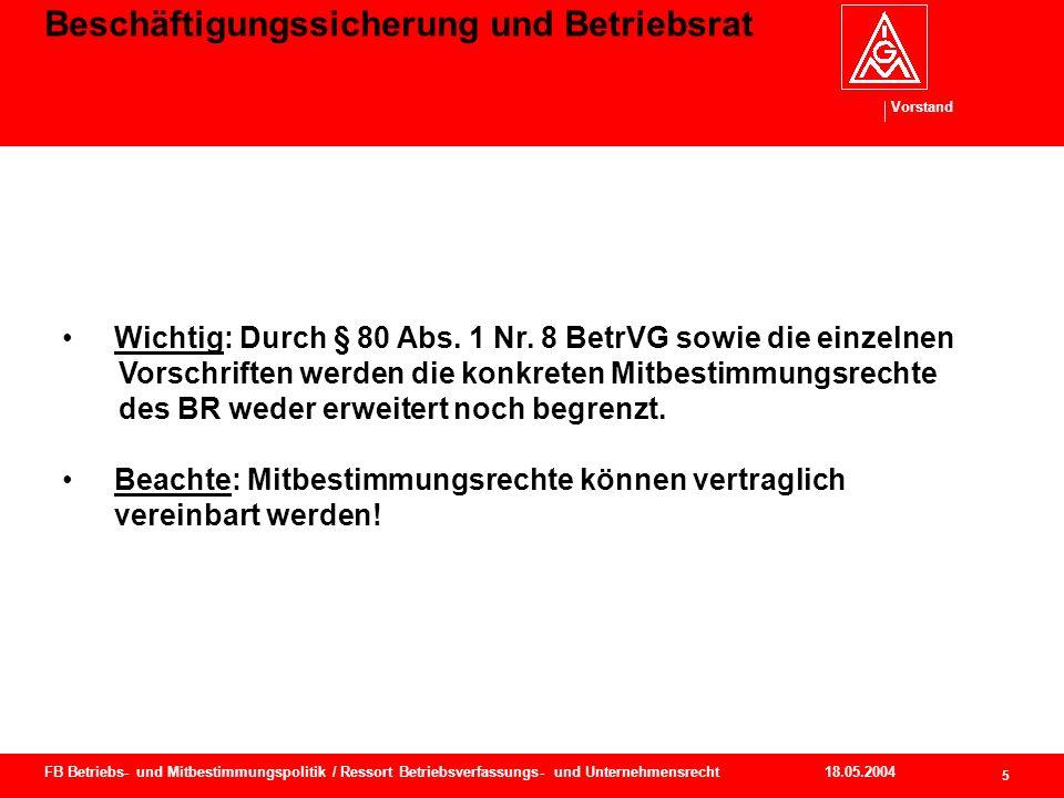 Vorstand 18.05.2004 6 FB Betriebs- und Mitbestimmungspolitik / Ressort Betriebsverfassungs- und Unternehmensrecht Beschäftigungssicherung und Betriebsrat § 80 Abs.