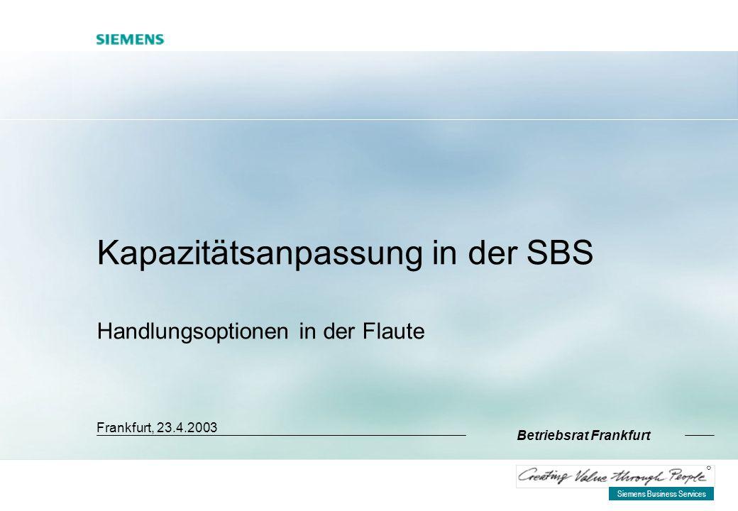 Siemens Business Services R Kapazitätsanpassung in der SBS Handlungsoptionen in der Flaute Frankfurt, 23.4.2003 Betriebsrat Frankfurt