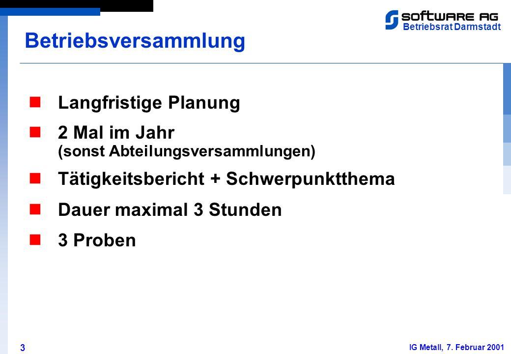 3 Betriebsrat Darmstadt IG Metall, 7. Februar 2001 Langfristige Planung Betriebsversammlung 2 Mal im Jahr (sonst Abteilungsversammlungen) Tätigkeitsbe