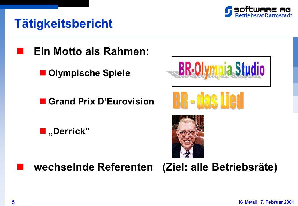 5 Betriebsrat Darmstadt IG Metall, 7. Februar 2001 Ein Motto als Rahmen: Tätigkeitsbericht Olympische Spiele Grand Prix DEurovision Derrick wechselnde