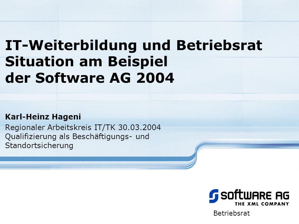 IT-Weiterbildung und Betriebsrat Situation am Beispiel der Software AG 2004 Karl-Heinz Hageni Regionaler Arbeitskreis IT/TK 30.03.2004 Qualifizierung
