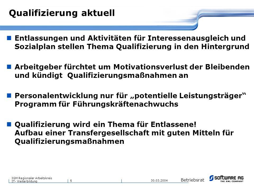 5 Betriebsrat IGM Regionaler Arbeitskreis IT- Weiterbildung 30.03.2004 Qualifizierung aktuell Entlassungen und Aktivitäten für Interessenausgleich und
