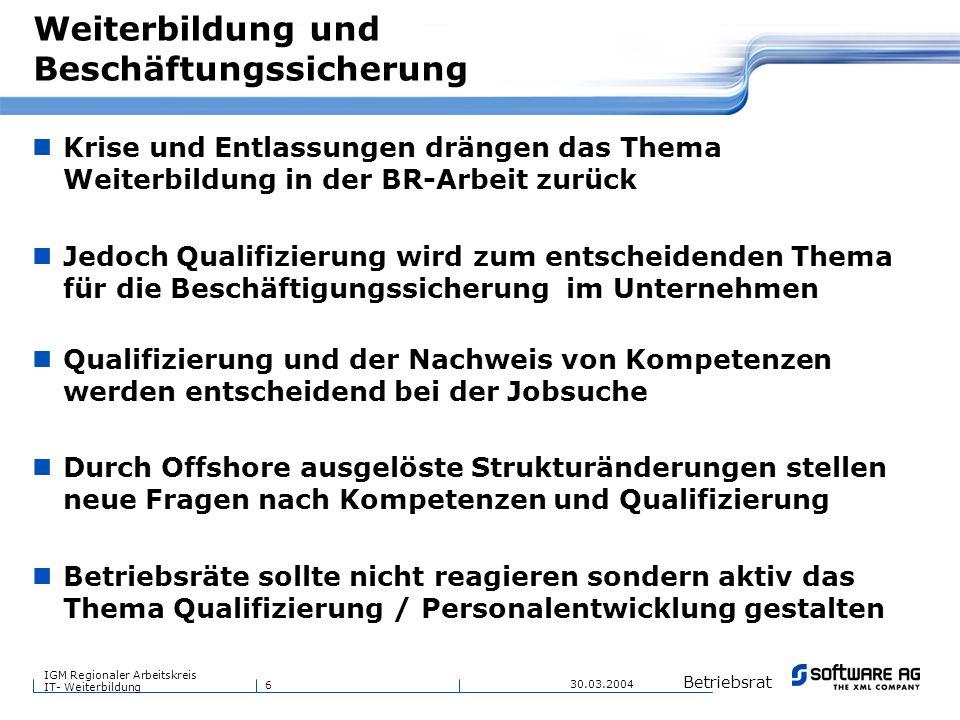 6 Betriebsrat IGM Regionaler Arbeitskreis IT- Weiterbildung 30.03.2004 Weiterbildung und Beschäftungssicherung Krise und Entlassungen drängen das Them
