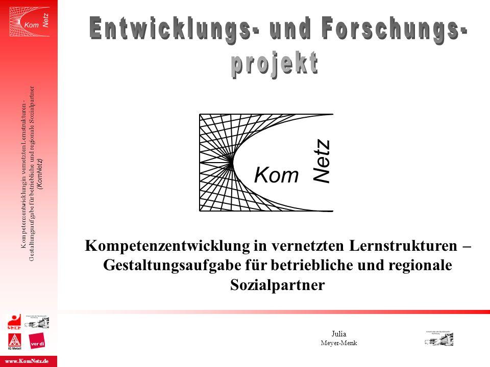 Kompetenzentwicklung in vernetzten Lernstrukturen – Gestaltungsaufgabe für betriebliche und regionale Sozialpartner Julia Meyer-Menk Kompetenzentwickl