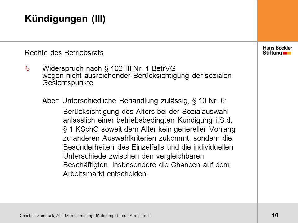 Christine Zumbeck, Abt. Mitbestimmungsförderung, Referat Arbeitsrecht 10 Kündigungen (III) Rechte des Betriebsrats Ä Widerspruch nach § 102 III Nr. 1