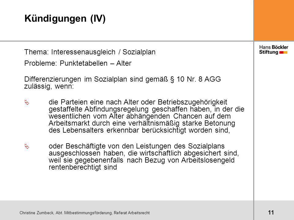 Christine Zumbeck, Abt. Mitbestimmungsförderung, Referat Arbeitsrecht 11 Kündigungen (IV) Thema: Interessenausgleich / Sozialplan Probleme: Punktetabe